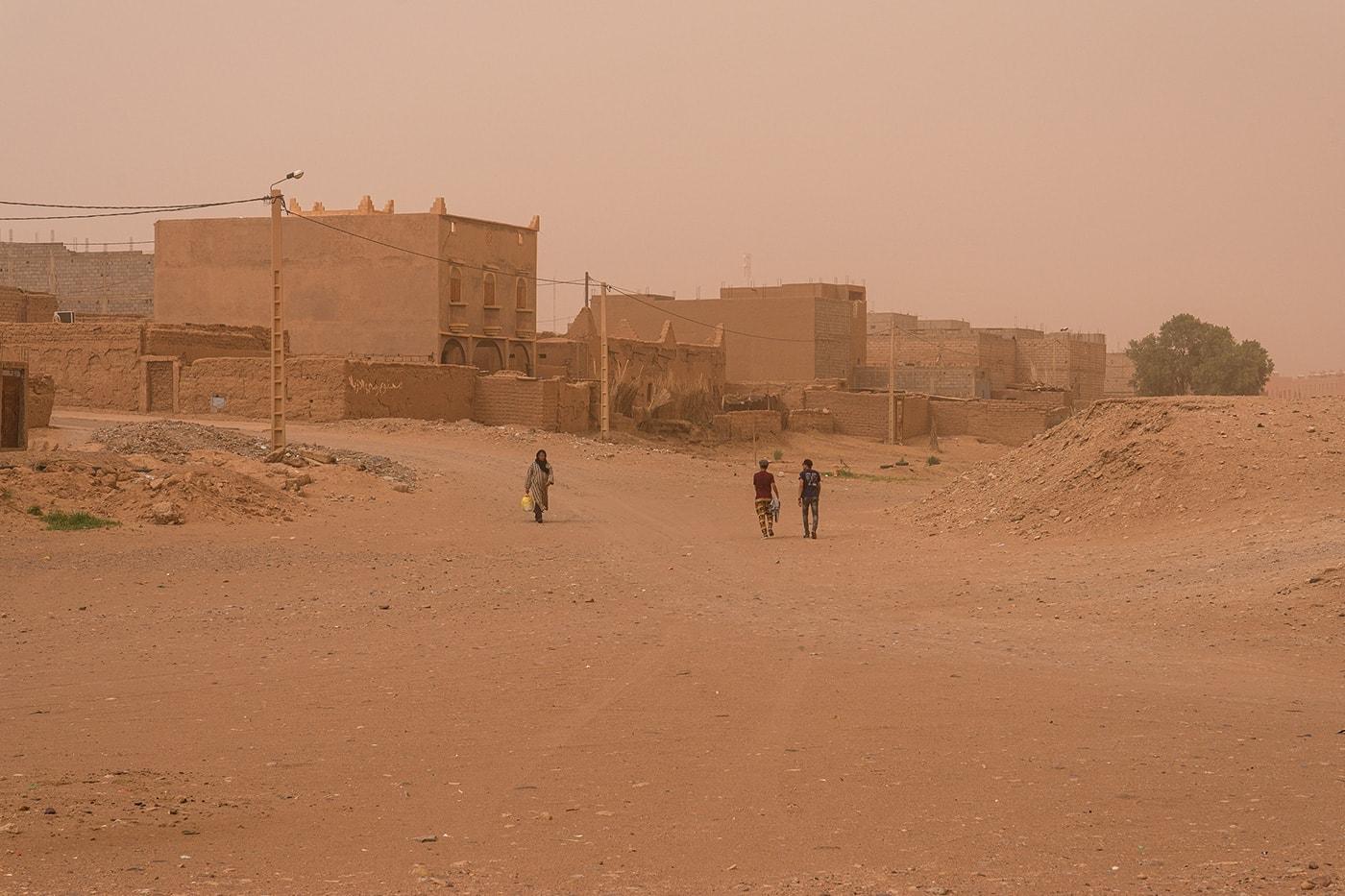 Una tempesta di sabbia a M'Hamid